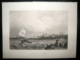 After Stanfield C1870 Antique Print, Portsmouth Harbour, Ship, Art Journal
